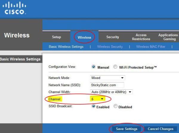 change wireless channel instructions