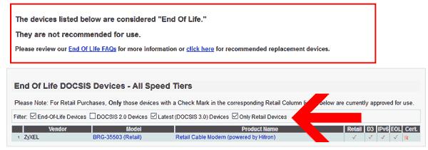 comcast eol retail modem list