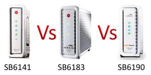 arris sb6141 vs sb6183 versus sb6190